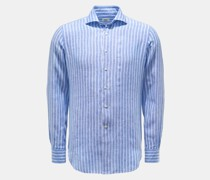 HerrenLeinenhemd Haifisch-Kragen dunkelblau/weiß