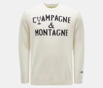 HerrenRundhals-Pullover 'Champagne & Montagne' offwhite