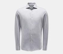 HerrenJersey-Hemd Haifisch-Kragen grau