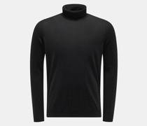 Cashmere Feinstrick-Rollkragenpullover schwarz