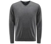 Feinstrick V-Ausschnitt-Pullover grau