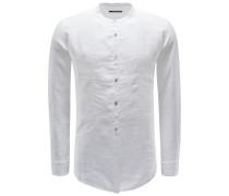 Leinenhemd 'Shedir' Grandad-Kragen weiß