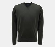 HerrenFeinstrick V-Ausschnitt-Pullover dunkelgrün