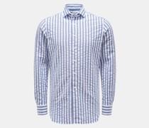 HerrenSeersucker-Hemd Haifisch-Kragen graublau/weiß