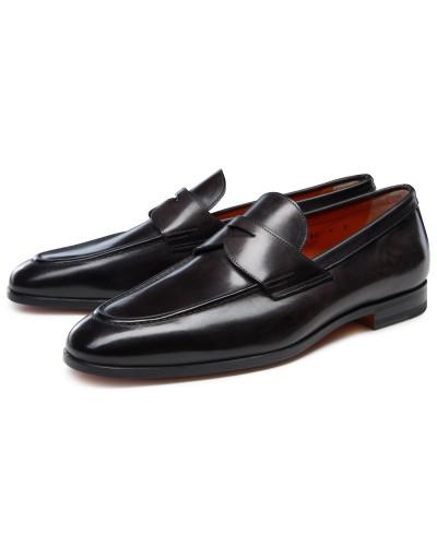 santoni herren santoni penny loafer schwarz reduziert. Black Bedroom Furniture Sets. Home Design Ideas
