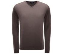 Merino V-Neck Pullover braun