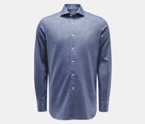 HerrenCasual Hemd Haifisch-Kragen graublau