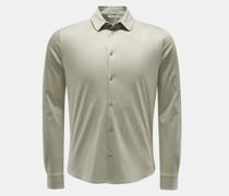 HerrenJersey-Hemd 'Pius' schmaler Kragen graugrün