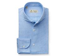 Leinenhemd 'Nando' Haifisch-Kragen hellblau