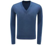 V-Neck Pullover blau