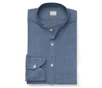 Chambrayhemd 'Tailor Fit' Grandad-Kragen graublau