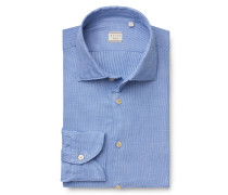 Casual Hemd 'Tailor Fit' Haifisch-Kragen blau gemustert