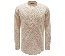 Seersucker-Hemd 'Shedir' Grandad-Kragen beige gemustert