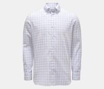 Seersucker-Hemd Button-Down-Kragen grau/weiß