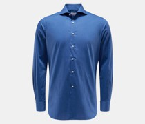HerrenCasual Hemd Haifisch-Kragen blau