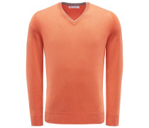 Cashmere V-Neck Pullover orange