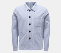 Seersucker-Overshirt 'Elenzo' graublau/weiß gestreift
