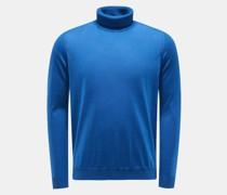 Cashmere Feinstrick-Rollkragenpullover blau