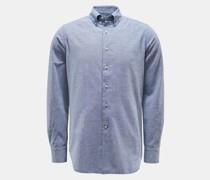 Casual Hemd Button-Down-Kragen graublau