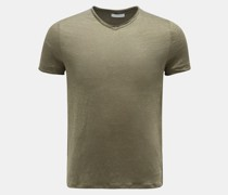 HerrenLeinen V-Neck T-Shirt 'Flynn' oliv