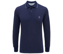 Brunello Cucinelli - Longsleeve-Poloshirt dunkelblau