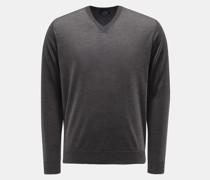 HerrenFeinstrick V-Ausschnitt-Pullover dunkelgrau