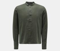 Leinen-Popover-Hemd 'to29rne.608' Grandad-Kragen dunkelgrün