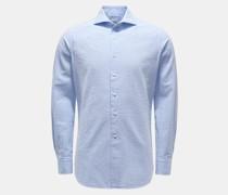 HerrenSeersucker-Hemd Haifisch-Kragen rauchblau/weiß
