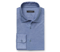 Jersey-Hemd schmaler Kragen rauchblau