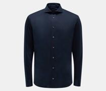 Jersey-Hemd schmaler Kragen 'M-Per-L' navy