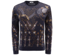 R-Neck Sweatshirt 'Lunar Space' navy gemustert
