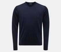 HerrenMerino Feinstrick V-Ausschnitt-Pullover navy