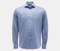 HerrenJersey-Hemd Haifisch-Kragen graublau