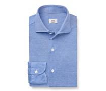 Gherardi - Piquéhemd schmaler Kragen blau