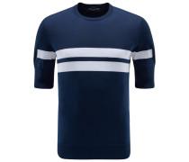 R-Neck Kurzarm-Pullover navy gestreift