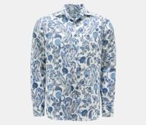 Leinenhemd Haifisch-Kragen weiß/navy
