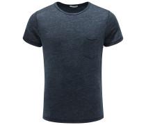 Leinen R-Neck T-Shirt 'Marlon' dark navy