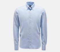 Flanellhemd 'Malon-LTFW' Button-Down-Kragen hellblau/weiß
