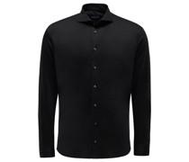 Jersey-Hemd schmaler Kragen 'M-Per-L' schwarz
