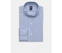 Business Hemd 'Sergio Napoli' Haifisch-Kragen rauchblau/weiß