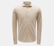 HerrenPiqué-Hemd 'Steve' schmaler Kragen beige