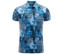 Jersey-Poloshirt blau gemustert