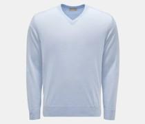 HerrenFeinstrick V-Ausschnitt-Pullover hellblau