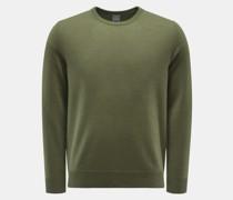 HerrenCashmere Rundhals-Pullover oliv