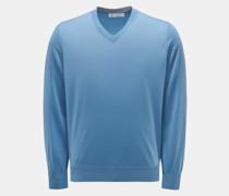 HerrenFeinstrick V-Ausschnitt-Pullover rauchblau
