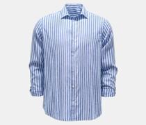 Casual Hemd schmaler Kragen dunkelblau/weiß