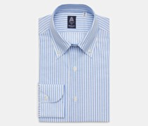 Business Hemd 'Leonardo Napoli' Button-Down-Kragen hellblau/weiß