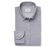Flanellhemd Button-Down-Kragen hellgrau gemustert