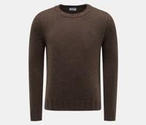 Cashmere Rundhals-Pullover dunkelbraun
