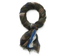 Schal oliv/blau gemustert